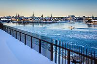 Kall vinterdag med Djurgårdsfärjan bland isflaken i Stockholms ström