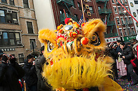 New York, NY - 26 January 2009 - Chinatown community marks the lunar New Year with a procesion of Lion Dancers, drums, and confetti