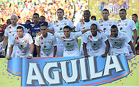 IBAGUE -COLOMBIA, 24-07-2016. Formación del Once Caldas ante Tolima. Acción de juego entre el Tolima y el Once Caldas durante encuentro  por la fecha 5 de la Liga Aguila II 2016 disputado en el estadio Murillo Toro./ Team of Once Caldas against Tolima.Actions game between Tolima and Once Caldas  during match for the date 5 of the Aguila League II 2016 played at Murilo Toro stadium . Photo:VizzorImage / Juan Carlos Escobar  / Contribuidor