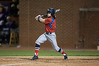 Evan Pietronico (4) of the NJIT Highlanders follows through on his swing against the High Point Panthers at Williard Stadium on February 18, 2017 in High Point, North Carolina. The Highlanders defeated the Panthers 4-2 in game two of a double-header. (Brian Westerholt/Four Seam Images)