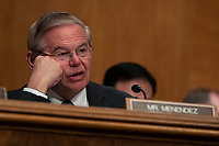 Senator Bob Menendez, Democrat of New Jersey, asks the CFPB Director Kathy Kraninger a question as she testifies before the Senate Banking Committee on Capitol Hill in Washington, D.C. on March 12, 2019. Credit: Alex Edelman / CNP/AdMedia