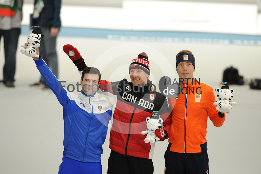 OLYMPIC GAMES: PYEONGCHANG: 15-02-2018, Gangneung Oval, Long Track, 10.000m Men, Final results, Nicola Tumolero (ITA), Ted-Jan Bloemen (CAN), Jorrit Bergsma (NED), ©photo Martin de Jong