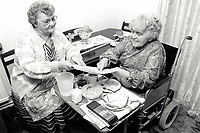 Carer & disabled elderly woman UK 1991
