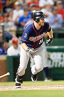 Minnesota Twins outfielder Jason Kubel #16 heads to first during a Major League Baseball game against the Texas Rangers at the Rangers Ballpark in Arlington, Texas on July 27, 2011. Minnesota defeated Texas 7-2.  (Andrew Woolley/Four Seam Images)