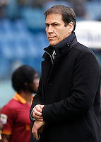 Calcio, Serie A: Roma-Genoa. Roma, stadio Olimpico, 12 gennaio 2014.<br /> AS Roma coach Rudi Garcia, of France, looks on prior to the start of the Italian Serie A football match between AS Roma and Genoa, at Rome's Olympic stadium, 12 January 2014. <br /> UPDATE IMAGES PRESS/Isabella Bonotto