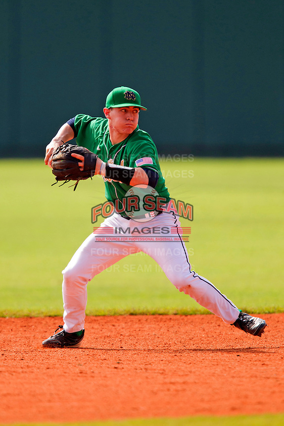 Notre Dame Fighting Irish shortstop Tommy Chase #11 during a game against the Purdue Boilermakers at the Big Ten/Big East Challenge at Al Lang Stadium on February 19, 2012 in St. Petersburg, Florida.  (Mike Janes/Four Seam Images)