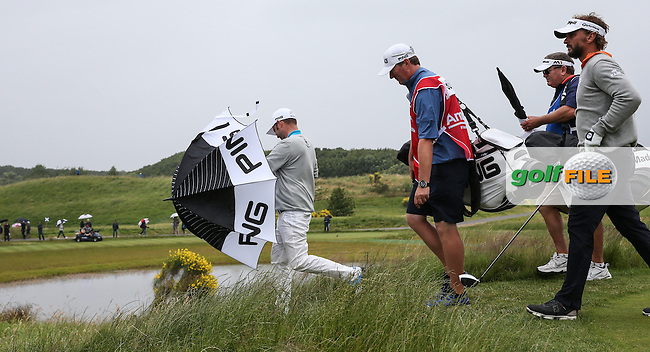 Andy Sullivan (ENG) heading into wind and rain from the 12th tee during the Final Round of the 100th Open de France, played at Le Golf National, Guyancourt, Paris, France. 03/07/2016. Picture: David Lloyd | Golffile.<br /> <br /> All photos usage must carry mandatory copyright credit (&copy; Golffile | David Lloyd)