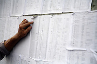 Lists of refugees in Mianyang, Sichuan, China..18 May 2008