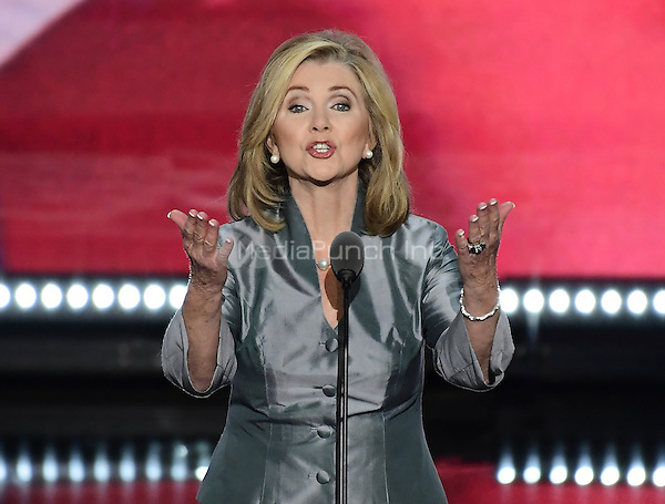 United States Representative Marsha Blackburn (Republican of Tennessee) makes remarks at the 2016 Republican National Convention held at the Quicken Loans Arena in Cleveland, Ohio on Thursday, July 21, 2016.<br /> Credit: Ron Sachs / CNP/MediaPunch<br /> (RESTRICTION: NO New York or New Jersey Newspapers or newspapers within a 75 mile radius of New York City)