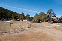 The intersection of Pinewood Drive and Chipmunk Drive near the border between Pinewoods Springs and the Arapahoe-Roosevelt National Forest in Pinewood Springs, Colorado, Wednesday, February 1, 2012. National Forests in Colorado could, under rule making now going on in the Obama administration, have much reduced protections from development than the rest of the nation under the so-called roadless rules, proposed in the Clinton administration, and recently vindicated by a federal appeals panel..