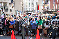 "Hundreds of theater lovers in front of the Richard Rodgers Theatre in Times Square in New York on Wednesday, April 6, 2016 for a chance to win one of 22 tickets in the #Ham4Ham lottery for seats for the Broadway blockbuster ""Hamilton"". The $10 live lottery takes place in front of the theater for the Wednesday matinee performance while for the rest of the week's performances the lottery is online. (© Richard B. Levine)"