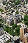 Aerials of downtown Lansing.