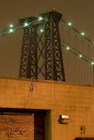 Williamsburg Bridge at Night and Industrial Building in the Williamsburg Neighborhood of Brooklyn, New York City, New York City, USA