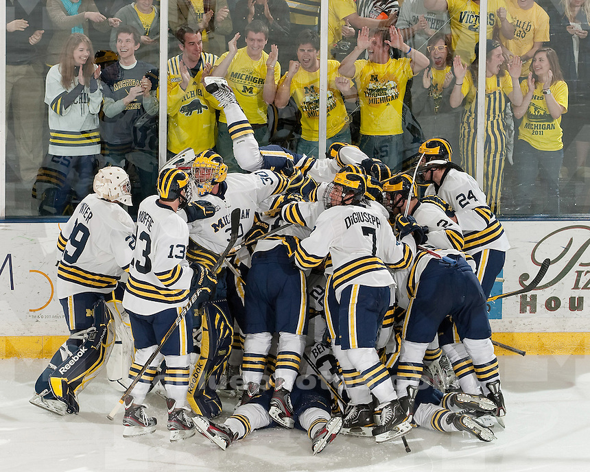 The University of Michigan men's ice hockey team defeated Notre Dame, 2-1, in double overtime in CCHA tournament play at Yost Ice Arena in Ann Arbor, Mich., on March 9, 2012.