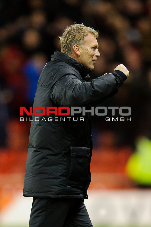 Man Utd Manager David Moyes (SCO) celebrates a goal from Defender Patrice Evra (FRA) during the second half of the match -  - 18/12/2013 - SPORT - FOOTBALL - Britannia Stadium, Stoke - Stoke City v Manchester United - Capital One Football League Cup Quarter-Final.<br /> Foto nph / Meredith<br /> <br /> ***** OUT OF UK *****