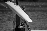 """Lucerne, SWITZERLAND, 14th July 2018, Saturday, """"Canadian Women's Single Sculler"""",  """"CAN W1X"""",  """"Carling ZEEMAN"""", carrier's, her boat to the pontoon, """"Black and White"""", FISA World Cup III Lake Rotsee, ©  Peter SPURRIER"""
