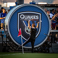 San Jose, CA - Saturday August 03, 2019: Earthquakes drummer  in a Major League Soccer (MLS) match between the San Jose Earthquakes and the Columbus Crew at Avaya Stadium.