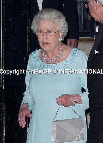 "Please confirm Usage - Tel +441279 324672..QUEEN SPILLS HER FOOD AT ex-KING CONSTANTINE'S 70TH BIRTHDAY PARTY..For someone who is very particular about every bit of her appearance this must have been a huge embarrassment..Looking unsteady as she left the 70th birthday dinner for cousin ex-King Constantine of Greece, the Queen displayed several patches of food stain on her party dress. Well at 84 she could be forgiven for living it up at the family party..King Constantine of Greece celebrated his 70th birthday with a party for 80 in London. Hosted by his son Pavlos, Crown Prince of Greece and attended by European Royalty, including The Queen (Elizabeth II), Queen Margrethe II of Denmark, Queen Sofía of Spain, Prince Andrew (Duke of York) and Princess Anne (The Princess Royal)_London_02/06/2010..Mandatory Credit Photo: ©DIAS-NEWSPIX INTERNATIONAL..**ALL FEES PAYABLE TO: ""NEWSPIX INTERNATIONAL""**..IMMEDIATE CONFIRMATION OF USAGE REQUIRED:.Newspix International, 31 Chinnery Hill, Bishop's Stortford, ENGLAND CM23 3PS.Tel:+441279 324672  ; Fax: +441279656877.Mobile:  07775681153.e-mail: info@newspixinternational.co.uk"