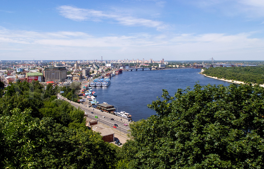 View from above of Duipro River and city downtown in exciting Kiev Ukraine