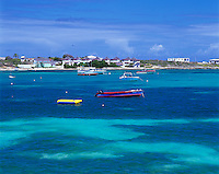 Anguilla, BWI<br /> Turquoise waters and moored boats of Island Harbor, Caribbean Sea