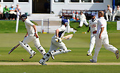Cricket Scotland Scottish Cup - Uddingston CC V Dunfermline CC at Arbroath CC - early running from Dunfermline with player-coach Kevin McLaren (left) and Steven Smidt completing a run off the bowling of Uddy's Paul Hoffmann (right) - Picture by Donald MacLeod - 20.08.11 - 07702 319 738 - www.donald-macleod.com