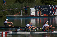 Lucerne, SWITZERLAND, 15th July 2018, Sunday Women's pairs, A Final. Silver Medalist, Canada, CAN W2-, Bow, Caileigh FILMER and Hillary JANSSENS,  FISA World Cup III Lake Rotsee, © Peter SPURRIER
