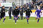 09.11.2019, Stadion an der Bremer Brücke, Osnabrück, GER, 2. FBL, VfL Osnabrueck vs. VfB Stuttgart<br /> <br /> ,DFL REGULATIONS PROHIBIT ANY USE OF PHOTOGRAPHS AS IMAGE SEQUENCES AND/OR QUASI-VIDEO, <br />   <br /> im Bild<br /> v.li. Bashkim Ajdini (VfL Osnabrück #7), Moritz Heyer (VfL Osnabrück #6), Marcos Alvarez (VfL Osnabrück #9) und David Blacha (VfL Osnabrück #23). Schlussjubel / Schlußjubel / Emotion / Freude / <br /> <br /> <br /> Foto © nordphoto / Paetzel