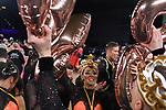 """09.11.2019,  GER; Tanzen, 1. Bundesliga der Lateinformationen, Deutsche Meisterschaften, Finale, im Bild Gruen-Gold-Club Bremen A mit dem Titel """"Music is the key"""" , die Mannschaft jubelt bei der Siegerehrung ueber den Sieg und den 1.Platz Foto © nordphoto/ Witke"""