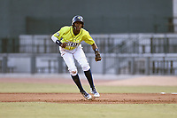 Shortstop Ronny Mauricio (2) of the Columbia Fireflies takes a lead off first in a game against the Charleston RiverDogs on Saturday, April 6, 2019, at Segra Park in Columbia, South Carolina. Columbia won, 3-2. (Tom Priddy/Four Seam Images)