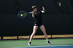 Courtney Meredith of the Wake Forest Demon Deacons returns the ball during the match against the North Carolina Tar Heels at the Wake Forest Tennis Center on March 29, 2017 in Winston-Salem, North Carolina. The Tar Heels defeated the Demon Deacons 6-1.  (Brian Westerholt/Sports On Film)
