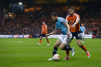 Blackpool's Andy Taylor holds off the challenge from Luton Town's Oliver Lee<br /> <br /> Photographer Craig Mercer/CameraSport<br /> <br /> The EFL Sky Bet League Two Play-Off Semi Final Second Leg - Luton Town v Blackpool - Thursday 18th May 2017 - Kenilworth Road - Luton<br /> <br /> World Copyright &copy; 2017 CameraSport. All rights reserved. 43 Linden Ave. Countesthorpe. Leicester. England. LE8 5PG - Tel: +44 (0) 116 277 4147 - admin@camerasport.com - www.camerasport.com