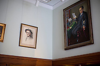 Painting by Irish artists hang in the Irish Room at the Honorable John J. Burns Library at Boston College in Chestnut Hill, Massachusetts, USA.