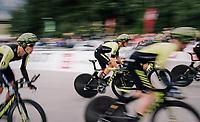 Team Mitchelton-Scott speeding off the start<br /> <br /> UCI MEN&lsquo;S TEAM TIME TRIAL<br /> Ötztal to Innsbruck: 62.8 km<br /> <br /> UCI 2018 Road World Championships<br /> Innsbruck - Tirol / Austria