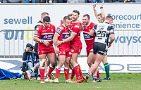 Picture by Allan McKenzie/SWpix.com - 30/03/2018 - Rugby League - Betfred Super League - Hull KR v Hull FC - KC Lightstream Stadium, Hull, England - Hull KR celebrate Thomas Minns try against Hull FC.