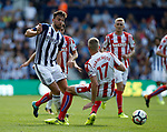 Jay Rodriguez of West Bromwich Albion tackled by Ryan Shawcross of Stoke City during the premier league match at the Hawthorn's Stadium, West Bromwich. Picture date 27th August 2017. Picture credit should read: Simon Bellis/Sportimage