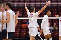 STANFORD, CA - January 5, 2019: Kyler Presho, Jaylen Jasper at Maples Pavilion. The Stanford Cardinal defeated UC Santa Cruz 25-11, 25-17, 25-15.