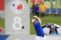 Paul Dunne (Europe) on the 8th tee during the Friday Foursomes of the Eurasia Cup at Glenmarie Golf and Country Club on the 12th January 2018.<br /> Picture:  Thos Caffrey / www.golffile.ie