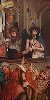 Ecco Homo, from a Triptych of the Virgin of the Calvary, 1514-17, by Quentin Metsys, 1466-1530, originally for the Mosteiro de Santa Clara, in the Museu Nacional de Machado de Castro, Coimbra, Portugal. The triptych was commissioned by King Dom Manuel I, 1469-1521. The museum was opened in 1913 and renovated 2004-2012. The city of Coimbra dates back to Roman times and was the capital of Portugal from 1131 to 1255. Its historic buildings are listed as a UNESCO World Heritage Site. Picture by Manuel Cohen