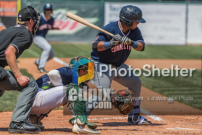 2 August 2016: Vermont Lake Monsters catcher Brett Sunde pulls in a low ball during game action against the Connecticut Tigers at Centennial Field in Burlington, Vermont. The Tigers defeated the Lake Monsters 7-1 in NY Penn League play.  Mandatory Credit: Ed Wolfstein Photo *** RAW (NEF) Image File Available ***