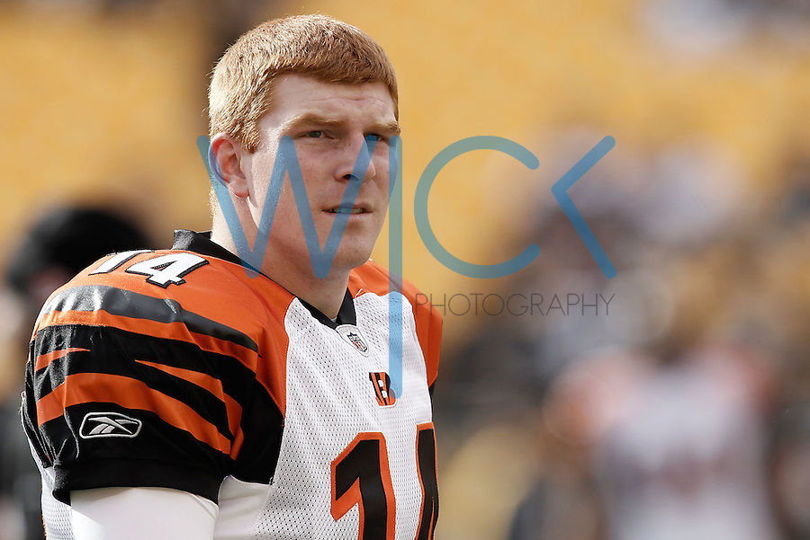 PITTSBURGH, PA - DECEMBER 04:  Andy Dalton #14 of the Cincinnati Bengals warms up prior to the game against the Pittsburgh Steelers on December 4, 2011 at Heinz Field in Pittsburgh, Pennsylvania.  (Photo by Jared Wickerham/Getty Images)