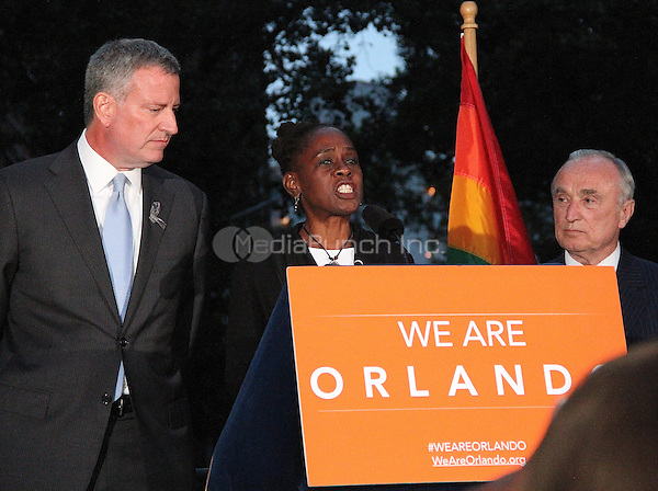 NEW YORK, NY - JUNE 13: Chirlane McCray wife of New York City Mayor Bill de Blasio at a vigil for the victims of the Orlando Mass Shooting held in Greenwich Village at the NYC LBGT landmark Stonewall Inn in New York, New York on June 13, 2016.  Photo Credit: Rainmaker Photo/MediaPunch
