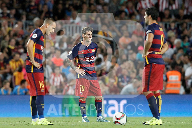 FC Barcelona's Sandro Ramirez (l), Leo Messi (c) and Luis Suarez dejected during Supercup of Spain 2nd match.August 17,2015. (ALTERPHOTOS/Acero)