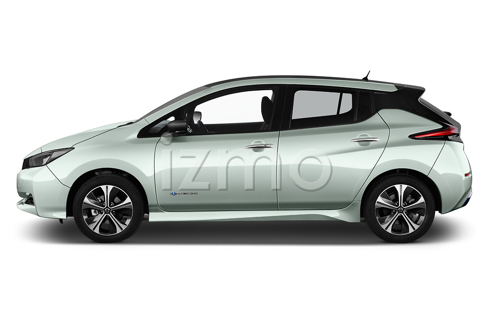 Car driver side profile view of a 2018 Nissan Leaf Tekna 5 Door Hatchback