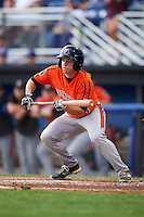 Aberdeen IronBirds right fielder Cole Billingsley (4) lays down a bunt during a game against the Batavia Muckdogs on July 15, 2016 at Dwyer Stadium in Batavia, New York.  Aberdeen defeated Batavia 4-2.  (Mike Janes/Four Seam Images)