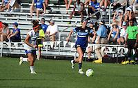 Kansas City, MO - Sunday August 28, 2016: Angela Salem, Erika Tymrak during a regular season National Women's Soccer League (NWSL) match between FC Kansas City and the Boston Breakers at Swope Soccer Village.