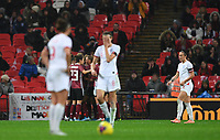 9th November 2019; Wembley Stadium, London, England; International Womens Football Friendly, England women versus Germany women; England wait to restart the match while Germany continue to celebrate their second goal - Editorial Use
