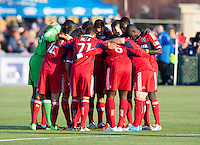 Santa Clara, California - Saturday July 28, 2012: Chicago Fire teammates huddle before the start of the match against San Jose Earthquakes at Buck Shaw Stadium, Stanford, Ca    San Jose Earthquakes and Chicago Fire tied 0 - 0