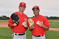 GCL Nationals pitchers Jared Johnson (left) and Gilberto Chu (right) pose for a photo after combining to throw a seven inning no-hitter in the second game of a doubleheader against the GCL Marlins.  Johnson went four hitless innings, walking one, and striking out two;  Chu went three hitless innings striking out four.  The GCL Nationals defeated the GCL Marlins 1-0.  (Mike Janes/Four Seam Images)