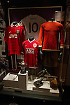 A display of historical shirts on display at the new National Football Museum in Manchester. The new museum, based in the futuristic Urbis building in the city centre of Manchester was set to open to the public on 6th July 2012. The National Football Museum, which was previously located in Preston, Lancashire, was expected to attract around 350,000 visitors each year.