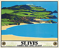 BNPS.co.uk (01202 558833)<br /> Pic: DavidLayFRICS/BNPS<br /> <br /> A GWR poster promoting St Ives<br /> <br />  A wonderful collection of vintage British travel posters celebrating the golden age of the seaside getaway have emerged for sale for £15,000.<br /> <br /> The posters were produced by Great Western Railway and British Railways between the 1930s to the 1960s to encourage Brits to holiday on the Cornish coast.<br /> <br /> One striking Art Deco poster issued by Great Western Railway shows a lady in an orange swimsuit at Newquay with surfers in the background. <br /> <br /> It describes the popular holiday destination as 'Cornwall's first Atlantic resort'.<br /> <br /> The collection of about 30 posters has been put together by a private collector over the past two decades who is now selling them with auction house David Lay FRICS, of Penzance, Cornwall.